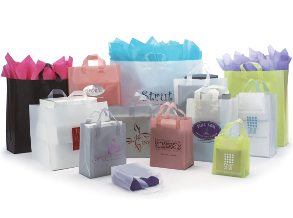 Frosted High Density Shopping Bags with Soft Loop Handles
