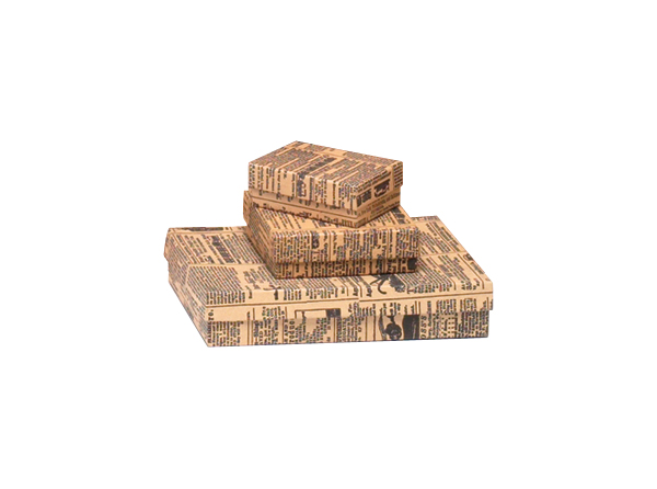 Tan Newsprint Cotton Filled Jewelry Boxes