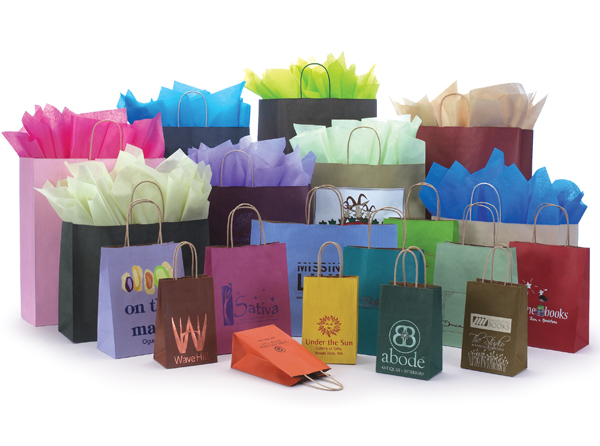Varnish Stripe Shopping Bags | Packaging Specialties