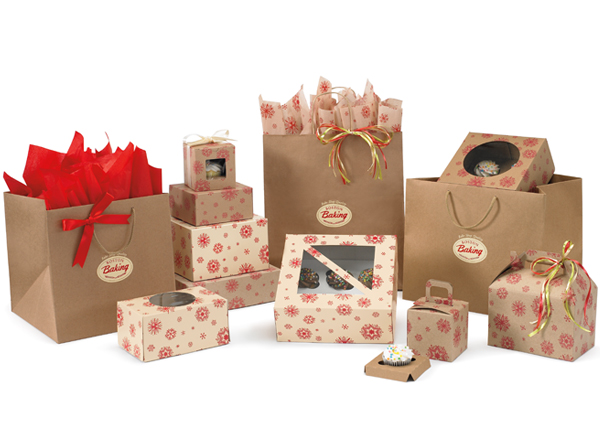 Crimson Snowflake Kraft & Cream Bakery Boxes