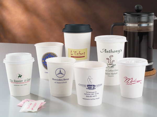 White Hot Paper Cups with Lids