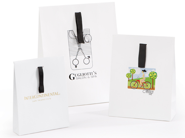 Matte Laminated European Shopping Bags with Flap Closure and Grosgrain Handle